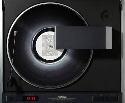 vinyl record art, photo of joy division's album on a turntable