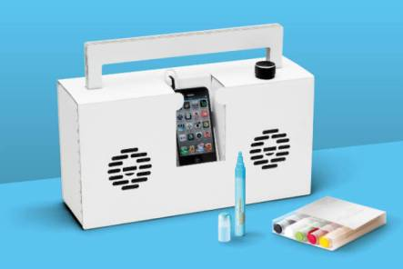 white berlin boombox ready to be customized