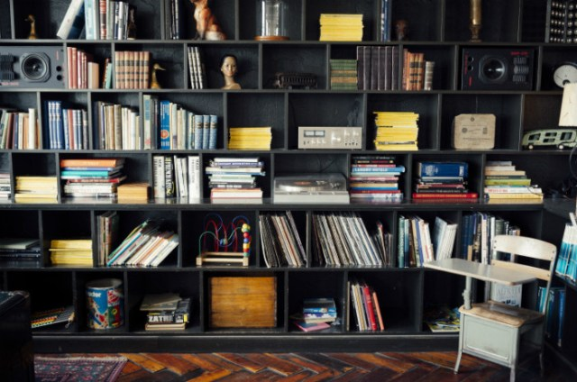 books and records on a bookshelf