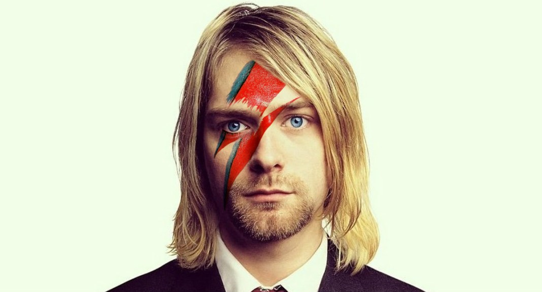 kurt cobain with the lightgning bolt of david bowie