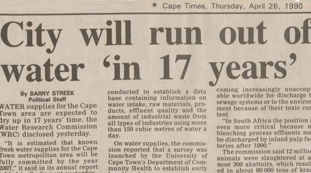 #WaterCrisis: 1990 article shows Day Zero plans should've began years ago