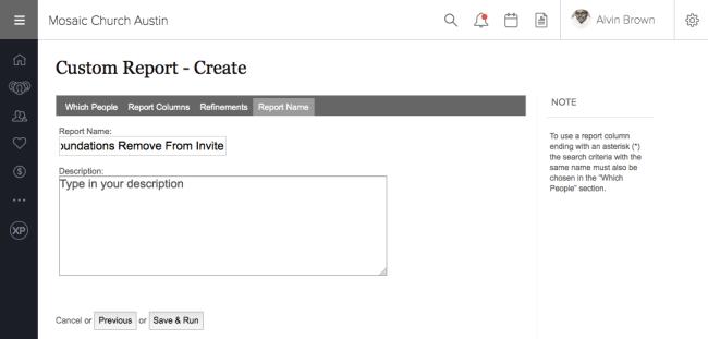 Custom Report Name