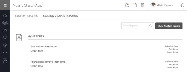 Newly Created Custom Saved Reports