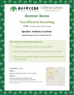 Seminar: Tax Efficient Investing on Saturday 9/9/17 at 9:45am CLU
