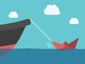 Small red paper boat hauling big metallic ship. Power, success, energy, motivation, achievement and potential concept. EPS 10 vector illustration, transparency used