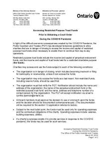 COVID-19: Ontario PGT Allows Charities to Access Restricted Funds