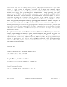 COVID-19: A Call to Include Religious Organizations in Re-Opening Plan