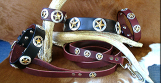 WESTERN LEATHER DOG COLLARS - DEPUTY DAWG DESIGNER COLLECTION