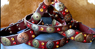 WESTERN LEATHER DOG COLLARS - HIDALGO DESIGNER COLLECTION
