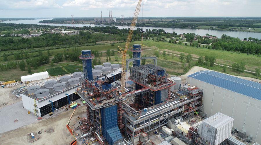Kiewit Power construction site building aerial view