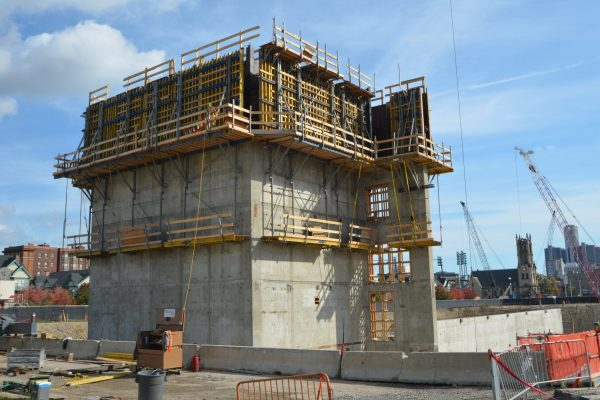 11Little Caesars Arena concrete foundation and tower build