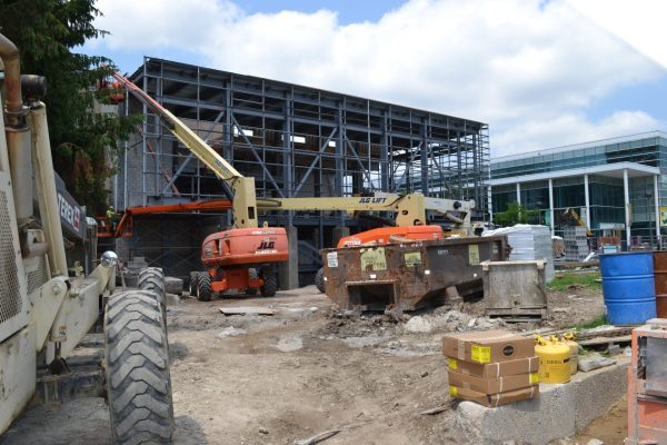 Wayne State Student Center construction with machinery