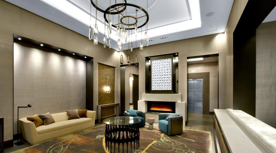 Brookside Condominiums entryway with fireplace