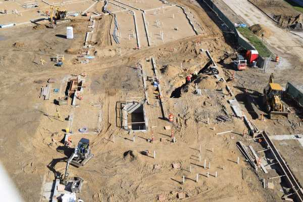 11aerial view of dirt construction site