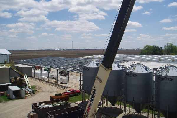 steel crane and silos at Remington Seed Solutions