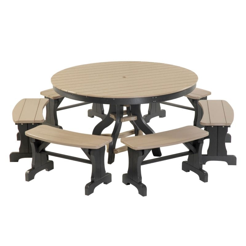 round patio set with banana benches