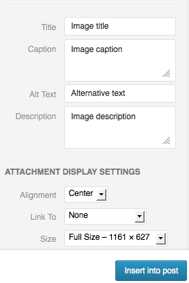 Wordpress image settings