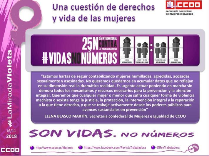 Una cuestión de derechos y vida de las mujeres: #VidasNoNúmeros