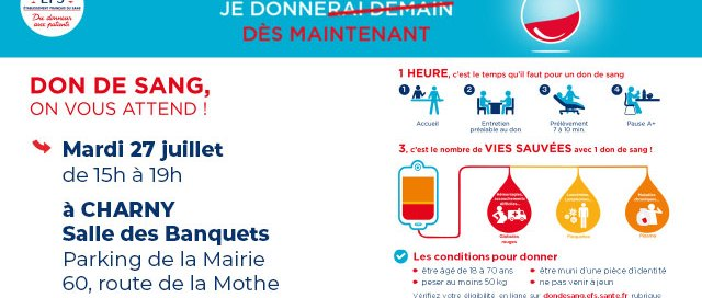 Don du sang EFS Charny Orée de Puisaye 27 juillet 2021