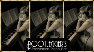 Bootlegger's Prohibition Piano Bar with wordmark reversed