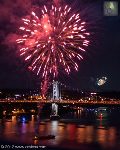 Fireworks over the Hudson River, as seen from the Walkway Over the Hudson