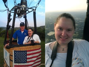 Just before take-off and up in the air in the hot air balloon! Matt, the pilot, and me on the left. (Left: Photo by Gary Dunlap of SkyCab Balloon Promotions, Right: Photo by Pilot Matthew McClinton of SkyCab Balloon Promotions -- both of Louisville, KY)