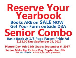 Yearbook Order now FLIER 2017-18