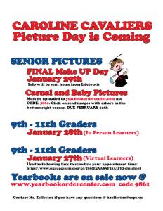 Flyer with the new yearbook picture dates for seniors