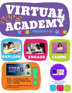 Flyer for the Virtual Academy for grades 3-12