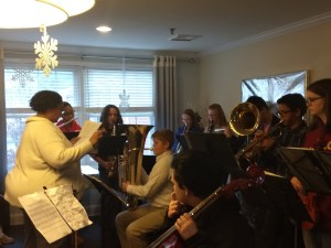 Ms. Mott with band students