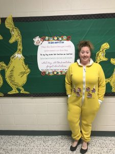 teacher dressed up for Dr. Seuss spirit week