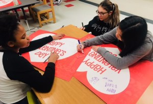 students making Valentine's Day cards
