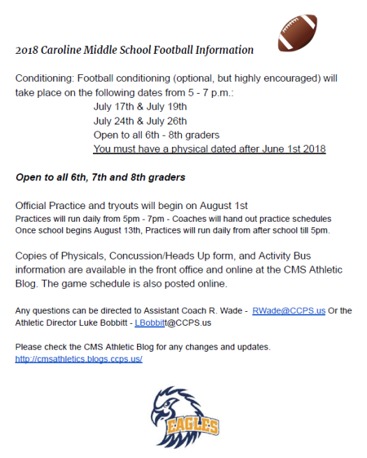 2018 Caroline Middle School Football Info