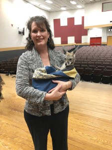 Mrs. Foster and baby kangaroo