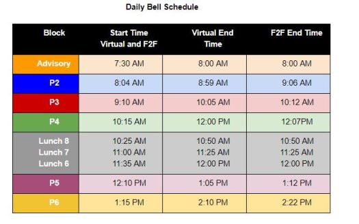 R2L Bell Schedule for CMS