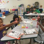Students building their monsters