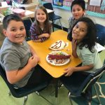 4 Students working on building their edible map