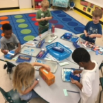 Students work at their table