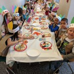 Kindergarten students feasting