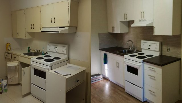 Before and After photos of a renovated kitchen