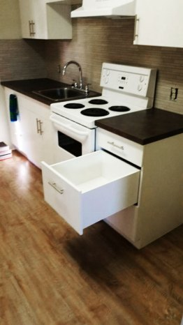 Newly installed kitchen drawers