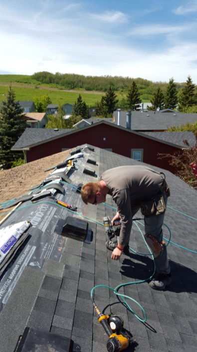 Putting new shingles and vents on a roof