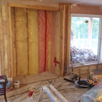 Gutted alcove, renovations in progress