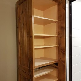 Completed bathroom storage cabinet opened