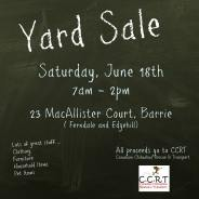 CCRT Yard Sale Fundraiser – Saturday, June 18 – Barrie, ON