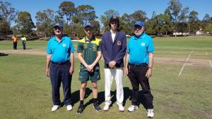 Captain Zac Hurley with Marist Sion captain umpires ahead of CCSs Day 2 clash - 2017 Marist Cricket Carnival