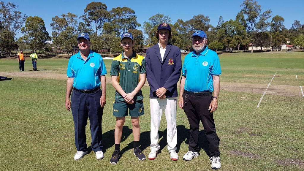 Captain Zac Hurley with Marist Sion captain umpires ahead of CCSs Day 2 clash 1024x576 - 2017 Marist Cricket Carnival