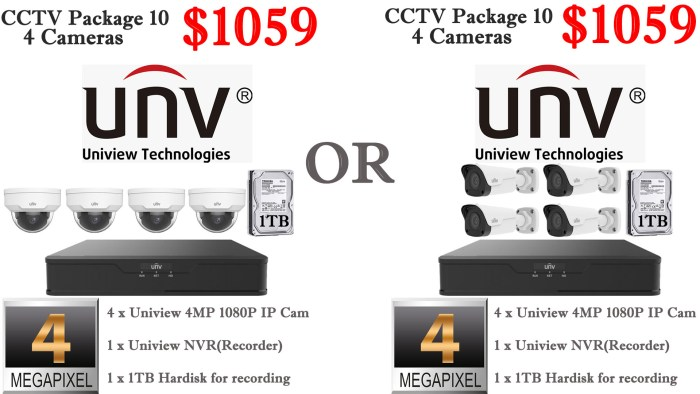 Uniview 4MP 4 Cameras Package