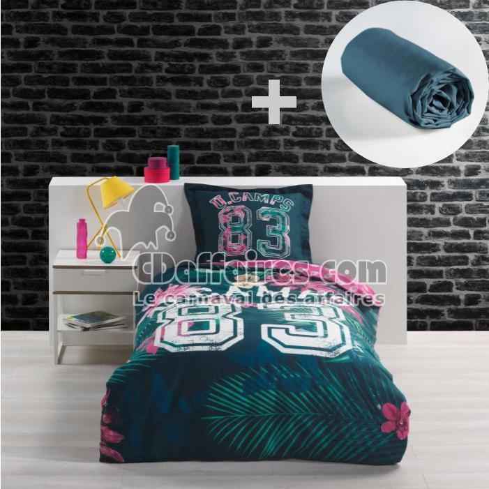 Ensemble Parure De Couette 140x200 Cm 100 Coton Tropical Drap Housse 90x190 Cm Bleu Cdaffaires