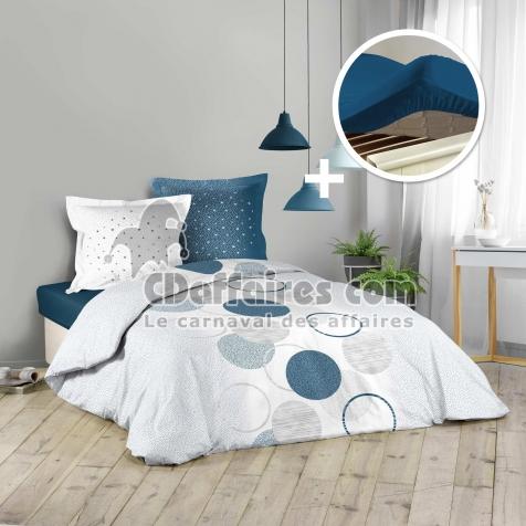 Park Housse De Couette 220x240 Cm Voie Lactee Drap Housse 140 X 190 Bleu Cdaffaires